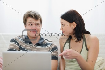 Girl didn't like what she saw in boyfriends laptop