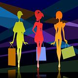 Three girl silhouette with bags