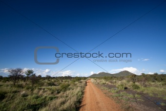 Dirt road leading into the African wilderness
