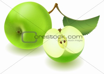Green apple and slice with leaf