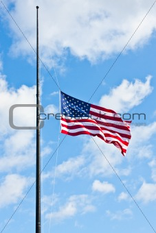 Half staff American flag