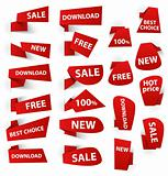 Set of red origami paper banners and stickers. Vector illustration