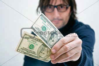 MAn paying in dollars