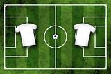 Football or soccer field with blank white shirts