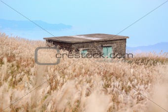 old stone house with grass on the mountain