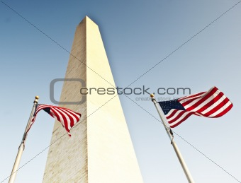 Two U.S. Flags Under Washington Monument