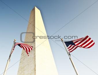 Two U.S. Flags Under Washington Monument