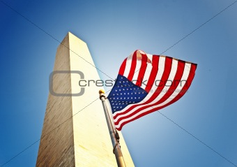 Flying US Flag At Washington Monument