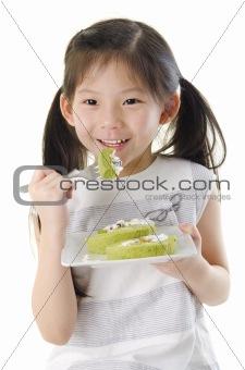 Enjoying dessert