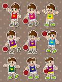 cartoon basketball player stickers