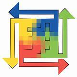 Four colorful blending arrows