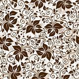 Seamless white-brown floral pattern