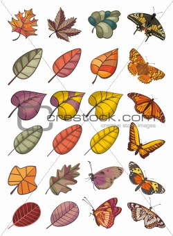 collection of leaves and butterflies