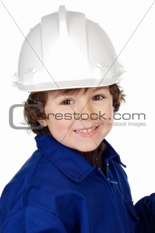 Adorable child with a helmet