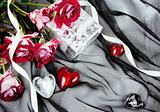 Hearts over Textile Stylish Valentine Still Life