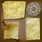 Scrap template of vintage paper piecesand lacy flower