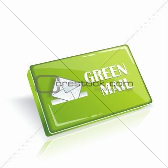 Blank 3d green button. Vector.