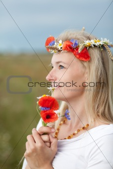 wild flowers and girl