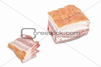 Cut a piece of ham slices. On a white background.