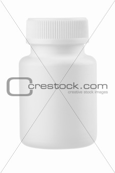 White plastic medical container