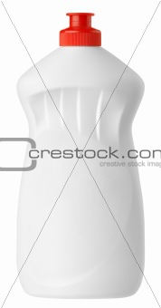 White plastic detergent bottle