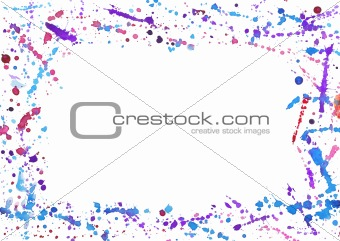 Abstract frame with colorful watercolor splashes