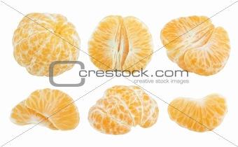 Slices of tangerine fruit