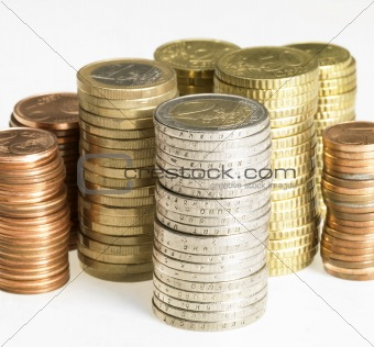 stacked euro coins