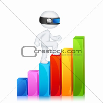 3d Man climbing Bar Graph