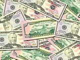 Background of money pile 50 USA dollars