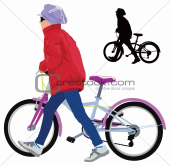 Small girl with bike