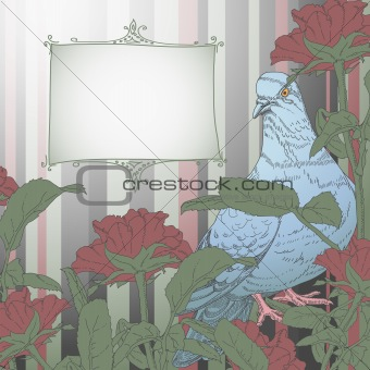 floral background with flowers and pigeon