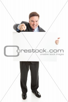 Stock Photo of Isolated Businessman with Sign