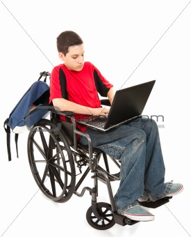 Student in Wheelchair With Laptop
