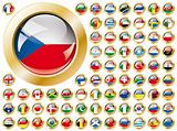 Shiny button flags with golden frame collection -  vector illustration