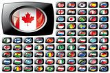 Shiny button flags with black frame collection -  vector illustration
