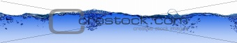 Isolated water splashing panorama with bubbles and water drops -