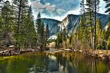 Dramatic Yosemite River and Upper Falls HDR Image.