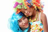 Friends In Coloful Wig
