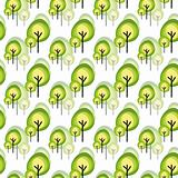 Abstract green tree seamless pattern