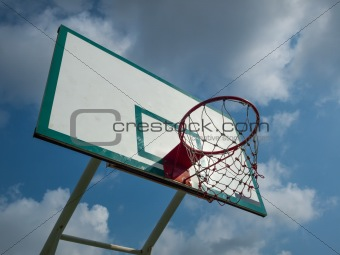 Green and white basketball hoop