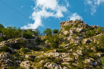 Cliff in Canyon of Mountain River near Split, Croatia