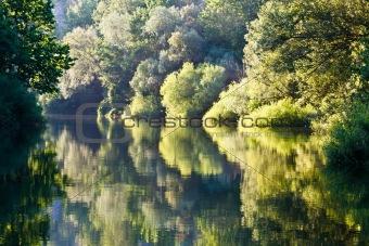Beautiful Reflection on Cetina River near Split, Croatia