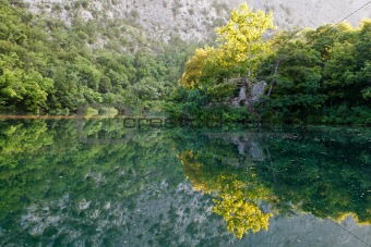 Beautiful Reflection on the River near Split, Croatia