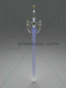 Ancient crystal sword at dimmed light