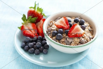 Bowl of muesli and berries