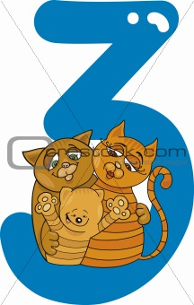 number three and 3 cats