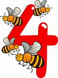 number four and 4 bees