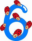 number six and 6 ladybug