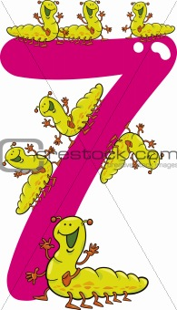 number seven and 7 caterpillar